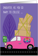 Daughter Away to College in a Pink Van Packed with Boxes on Purple card