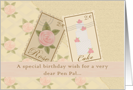 Pen Pal Vintage Postage Birthday Card