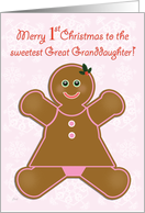 Great Granddaughter First Christmas Gingerbread Girl card