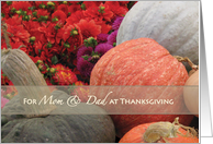 Thanksgiving Mom Dad Parents Flowers Gourds card