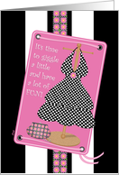 Birthday Party Invitations Girls Pink Black Dress card
