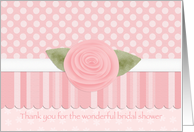 Thank You Bridal Shower Hostess Host Pink Rose card