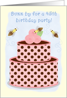 Birthday Party Invitations 45 Bees and Cake card
