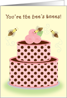 Coworker Birthday Bees Cake Whimsical card
