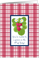 4th Fourth of July Picnic Invitations Strawberry Plaid card