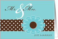 Marriage Wedding Announcements Pool and Espresso Colors card