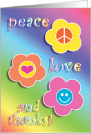 Thank You Coming to Party Peace Love Fun Retro card