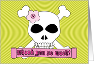 Thank You Coming to Party Skull and Crossbones card