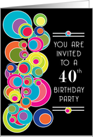 Pop Art 40th Birthday Party Invitation Card