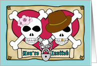 Couples Bridal Shower Invitation, Skull and Crossbones, Funny card