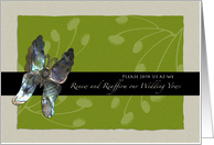 Vow Renewal Invitation, Butterfly Informal, Green, Ivory card