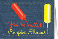 Couples Shower BBQ / Barbecue Invitation, Denim Ketchup Mustard card