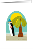 Beach Party Couples Bridal Shower Invitation with Palm Tree and Surfboard card
