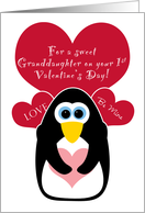 Granddaughter Baby's First Valentine's Day with Penguin card
