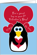 Baby's First Valentine's Day with Penguin for Boy card