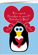 Grandson Baby's First Valentine's Day with Penguin card