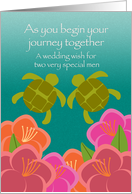 Wedding Congratulations Gay Men Two Honu and Tropical Flowers card