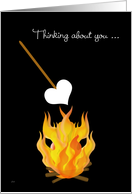 Summer Camp Thinking of You Toasting Marshmallow Heart card