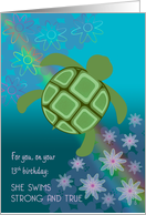 Birthday 13 for Girl Sea Turtle Swimming with Flowers and Rainbow card