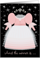 Beauty Pageant Winner Congratulations Little Girl Pink Dress and Tiara card