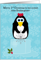 Baby's First Christmas Goddaughter Penguin on an Ice Cube card