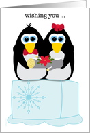 Wishing You a Cool Yule Whimsical Penguins on Ice Cube with Yule Log card