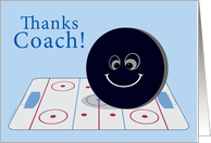Coach Thank You Ice Hockey with Whimsical Puck on Blue card