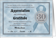 Employment Anniversary 30 Years Funny Customizable Certificate card