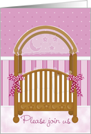 Cradle Ceremony Invitation Girl Daughter in Pink Mauve Baby Crib card