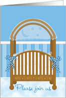 Cradle Ceremony Invitation Baby Boy Son in Blue Baby Crib card
