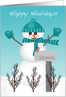 Christmas Card for Mail Letter Carrier Snowman US Mailbox Thank You card