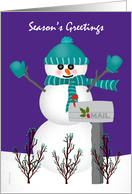 Christmas Card for Mail Letter Carrier Snowman Mailbox Thank You card