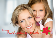 Thank You Christmas Gift Photo Card with Red Poinsettia card