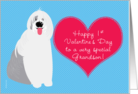 Grandson Baby's First Valentine's Day with Cute Dog on Blue card