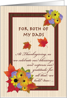 Thanksgiving for Both of My Dads Autumn Flowers and Maple Leaves card