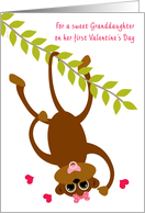 Granddaughter Baby's First Valentine's Day Monkey Swinging Valentine card