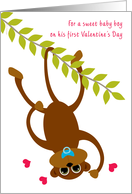 Baby Boy Baby's First Valentine's Day Monkey Swinging card