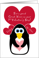 Great Niece Baby's First Valentine's Day with Penguin card