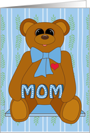 First Mother's Day for Mom from Baby Boy with Cute Teddy Bear on Blue card