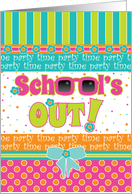 Invitation End of School Last Day Party Bright Summer Colors card