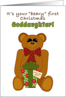 Goddaughter First Christmas with Teddy Bear Holding Present card