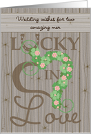 Wedding Congratulations Two Gay Men Vintage Barn Wood Look card