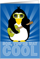 Son Happy Adoption Day Anniversary Cool Penguin Playing Guitar card