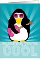 Daughter Happy Adoption Day Anniversary Cool Penguin Playing Guitar card