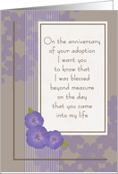 Adoption Day Anniversary from Mom Purple Flowers on Taupe card