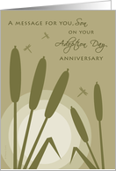 Son Adoption Day Anniversary Sunset with Cattail Reeds Dragonflies card