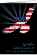 Grandson Eagle Scout Congratulations American Flag Eagle card