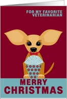 Veterinarian Christmas Chihuahua Dog on Red and Dusty Blue card