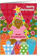 Great Granddaughter Christmas Gingerbread Girl Cookies Trees Presents card