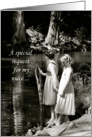 Niece Junior Bridesmaid Invitation, Two Little Girls by Pond card